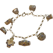 Vintage Chinese 800 Silver & Blue Enamel Charm Bracelet