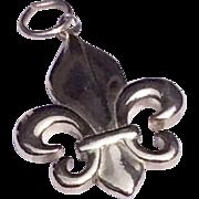 Vintage Sterling Silver Fleur D Lis Charm Pendant