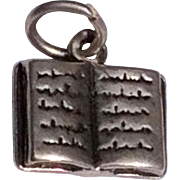 Vintage Sterling Silver Book Charm