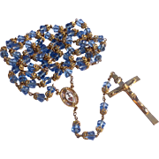 Vintage Gold Plated Faceted Blue Glass End Capped Catholic Rosary