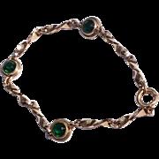 Vintage Sturdy 12 K Gold Filled Green Rhinestone Bracelet