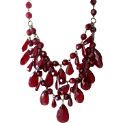 Fabulous Vintage Triple Strand Red Lucite Faceted Bib Necklace