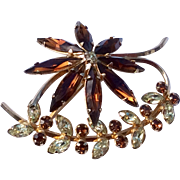 Vintage 12 K Gold Filled Topaz & Clear Rhinestone Brooch