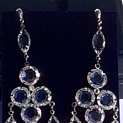 Vintage Long Crystal Glass Chandelier Earrings