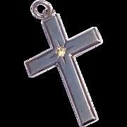 Vintage Sterling Silver & Rhinestone Cross