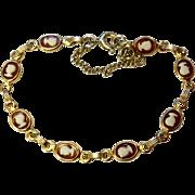 Vintage Gold Filled Faux Cameo Bracelet