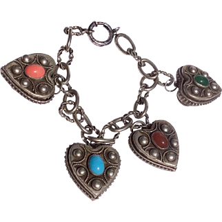 Massive Vintage Italian 800 Silver Ornate Heart Charm Bracelet