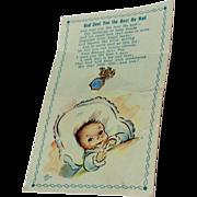 Vintage Gold Filled Blue Enamel  Miraculous Medal Baby Pin On Original Card