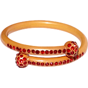 Art Deco Celluloid Red Rhinestone Bracelet