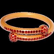 Art Deco Celluloid Red Rhinestone Bracelet