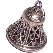 Vintage Sterling Silver 3D  Mechanical Wedding Bell Charm