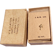 Vintage 10K Gold Lapel Cross In Original Box