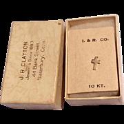 Vintage 10K Gold Lapel Cross In Original Box