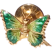 Vintage 18 K Gold Enameled Butterfly Tie Tack Lapel Pin