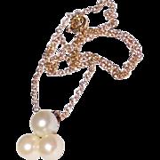 Vintage Gold Cluster Faux Pearl Pendant Necklace