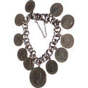 Vintage English Sterling Silver 6 Pence & 2 Shilling Coin Charm Bracelet