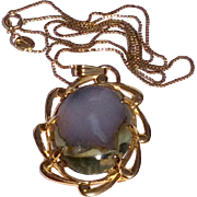 Vintage Gold Filled Blue Oregon Agate Pendant Necklace