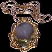 Vintage12 K Gold Filled Blue Oregon Agate Pendant Necklace