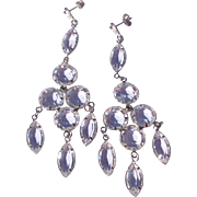 Vintage Long Clear Crystal Chandelier Earring
