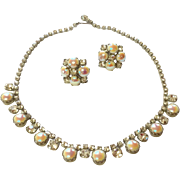 Vintage Silver Tone Metal Rhinestone Faux Moonstone Pearl Necklace & Earrings