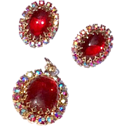 Vintage Gold Tone Medal Red Stone & AB Rhinestone Clip Earrings & Pendant