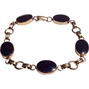 Vintage Van Dell 12 K Gold Filled Black Onyx Link Bracelet