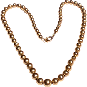 Vintage 14 K Yellow Gold Bead Necklace