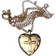 Vintage 14 K Gold Filled Child's Heart Cross Locket & Chain