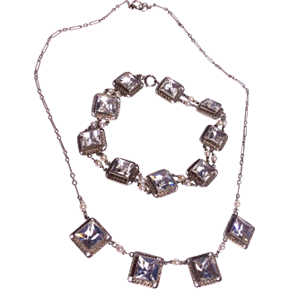 Gorgeous Rock Crystal Seed Pearl Sterling Silver Necklace & Bracelet