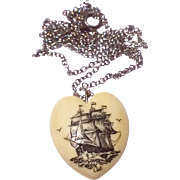 Vintage Heart Shaped Scrimshaw Sailing Ship Necklace