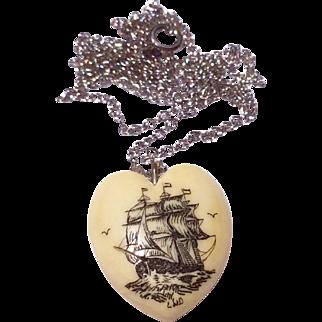 Vintage Heart Shaped Scrimshaw Sailing Ship Necklace