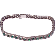 Art Deco Sterling Silver Emerald Green Paste Rhinestone Bracelet