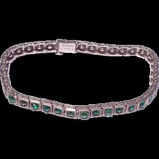 Art Deco Sterling Silver Emerald Green Paste Rhinestone Bracelet