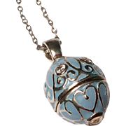 Vintage Sterling Silver Enameled Egg Pendant & Sterling Chain