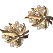 Vintage Signed Trifari Gold Tone Metal Faux Pearl Clip Earrings