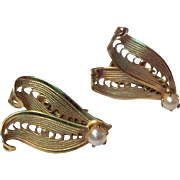 Vintage Gold Tone Metal Faux Pearl Clip Earrings