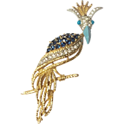 Vintage Florenza Crowned Bird Of Paradise Rhinestone  Brooch