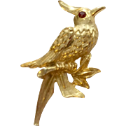 Vintage Gold Tone Metal Bird Brooch