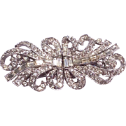 Art Deco Rhinestone Ribbon Bow Duette Dress/Fur Clip Brooch