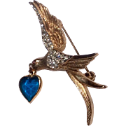 Vintage Kramer Gold Tone  Rhinestone Love Bird Flying Brooch