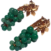 Vintage Gold Tone Metal Green Glass Grape Cluster Dangle Earrings