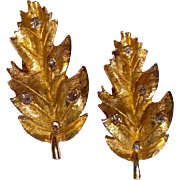 Vintage Gold Tone Metal Rhinestone Leaf Clip Earrings