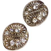 Vintage Coro Silver Tone Metal Rhinestone Clip Earrings