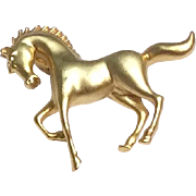 Vintage Gold Tone Metal Galloping Horse Brooch