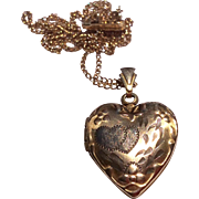 Vintage 10 K Gold Filled Heart Double Photo Locket & Chain