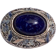 Vintage Silver Tone Metal Oval Blue Stone Brooch