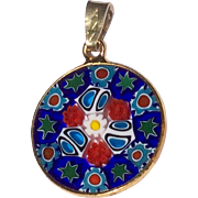 Vintage Gold Tone Metal Colorful Two Sided Disk Pendant