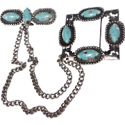 Vintage Silver Tone Metal Faux Turquoise Chatelaine Brooch