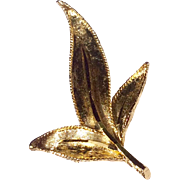 Vintage Gold Tone Metal Hand Engraved Leaf Brooch