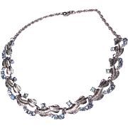 Vintage Silver Tone Metal Sky Blue Rhinestone Choker Necklace